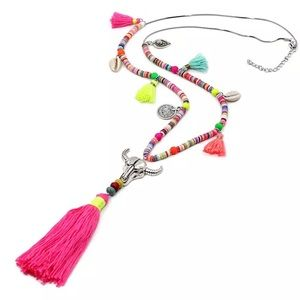 Tassel, Charm, Shell, and Skull necklace